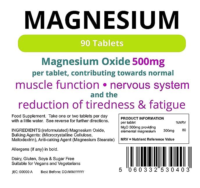 Lindens Magnesium Tablets (MgO 500mg) | 90 Pack | UK Manufacturer ...