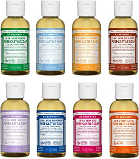 product image for Dr. Bronner's - Pure-Castile Liquid Soap (2 Ounce Variety Gift Pack) Almond, Unscented, Citrus, Eucalyptus, Lavender, Peppermint, Rose, Tea Tree - Made with Organic Oils, For Face, Body and Hair