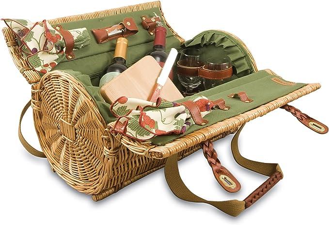 Wicker Wine & Cheese Picnic Basket Set