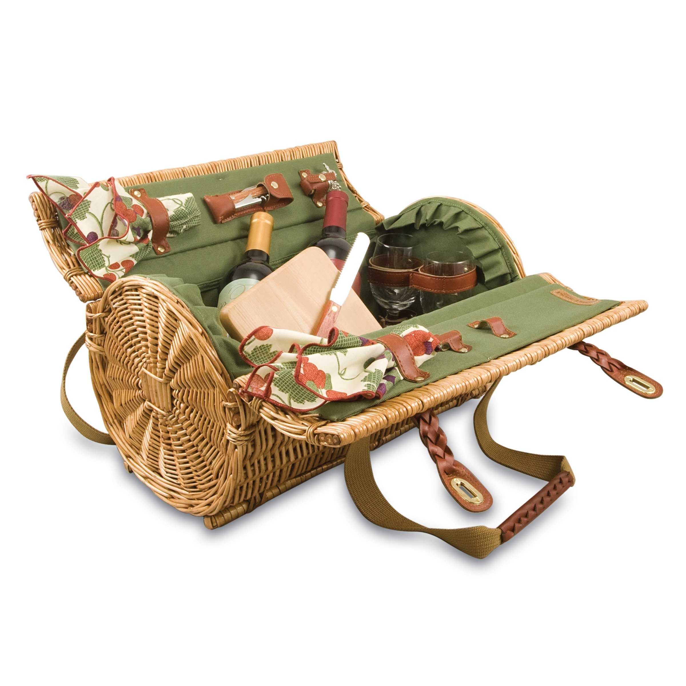 Picnic Time Verona Insulated Wine Basket with Wine/Cheese Service for Two, Pine Green by PICNIC TIME
