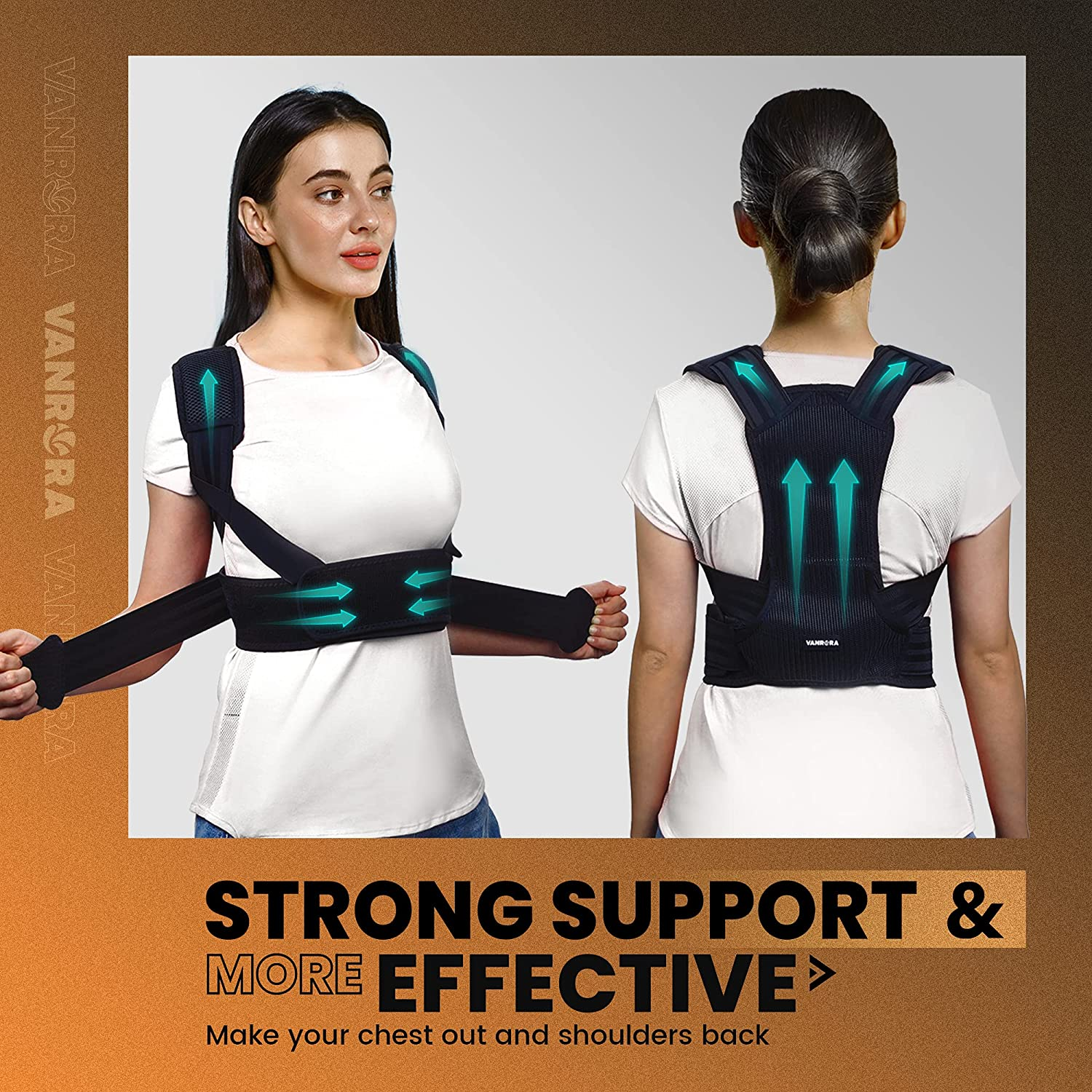 VANRORA Posture Corrector for Women and Men, Back Brace Fully Adjustable & Comfy, Support Straightener for Spine, Back, Neck, Clavicle and Shoulder, Improves Posture and Pain Relief S/M: Industrial & Scientific