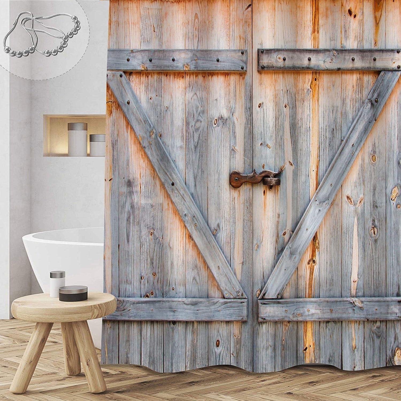 Gibelle Rustic Barn Door Shower Curtain, Western Country Farmhouse Old Wooden Garage Door Shower Curtain, American Native Farm Style Artwork Vintage Barnwood Door Fabric Bathroom Decor, 36