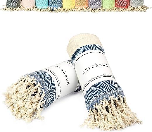 EuroHand Turkish Towels, Beach Towels Cotton, Prewashed, 39 x 70 Inches - Turkish Peshtemal Bath Towel for Bathroom, Spa, Beach, Home, Yoga, Kitchen (Blue)