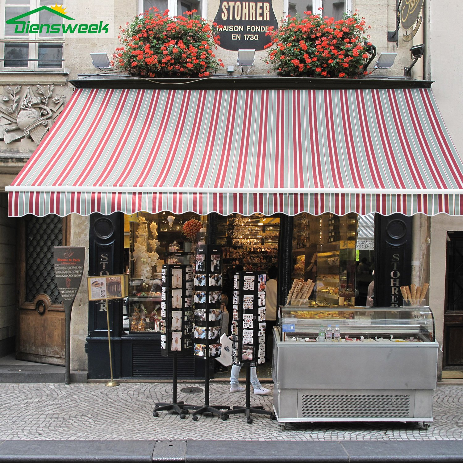 Diensweek 12'x8' Patio Awning Retractable Manual Commercial Grade,Quality 100% Acrylic Sun Shade Shelter -Deck Door Outdoor Canopy Balcony M100 Series 2 Years Warranty,(Red/Grey Stripes)