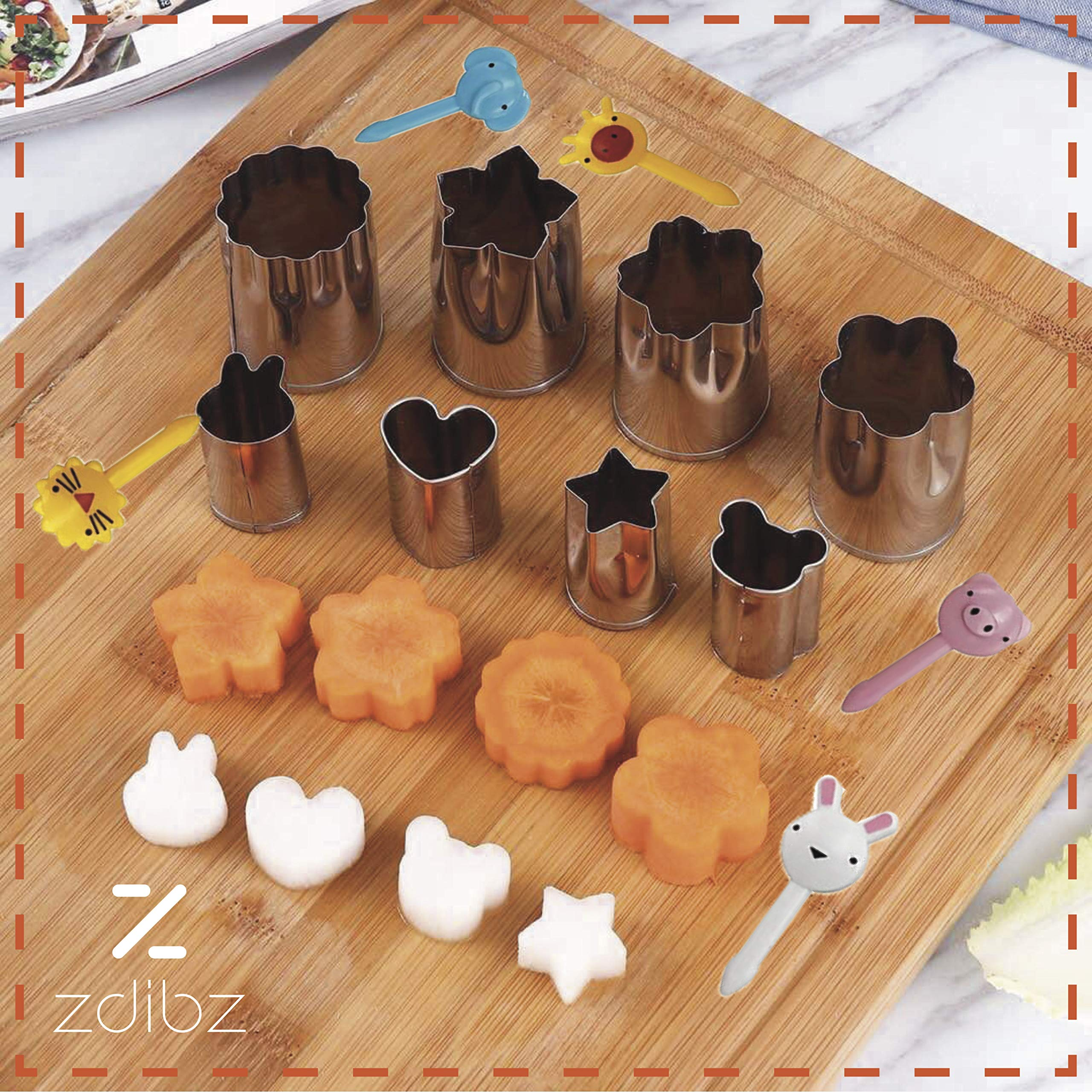 NEW Premium/Sturdy 29 Pc BPA Free Sandwich Cutter Set for Kids - Fun Bento Box Lunch Set For Boys, Girls & Toddlers - 8 Stainless Steel Fruit/Vegetable & Cookie Cutters - FREE 10 Food/Fruit Picks by zdibz (Image #5)