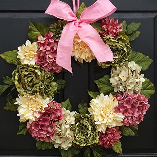 Amazon Com Large Spring Summer Wreath For Front Door Decor