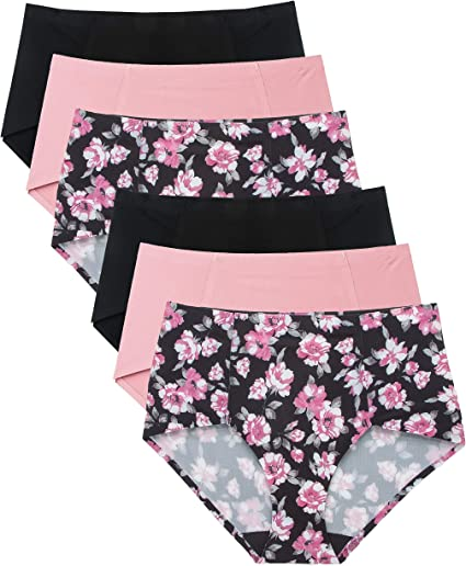 Yours Clothing Women/'s Plus Size 5 Pack Black /& White Floral Briefs