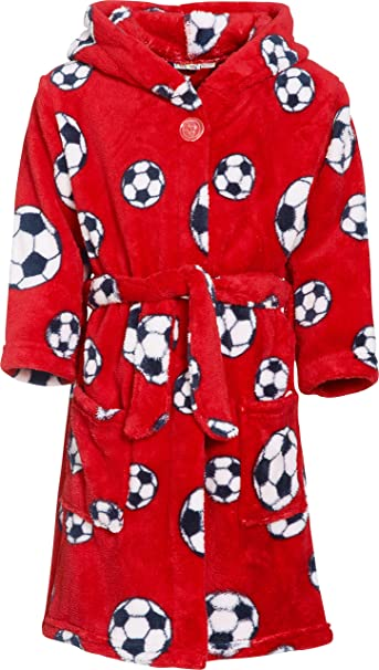 Playshoes Fleece-Bademantel FuBall, Bata para Niños, Rot 8, 9 Meses: Amazon.es: Ropa y accesorios
