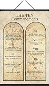 The Ten Commandments Wall Decor Catholic Church Version Giclee Prints on Canvasfor Home Decor Office Decor Poster Art Print Painting Canvas Prints with Magnetic Hanger Clip Frame (32 x 48 Inch)