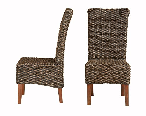 Modus Furniture Meadow Wicker Dining Chair, Brick Brown, Set of Two