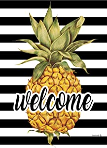 Custom Decor Welcome Pineapple - Garden Size, Decorative Double Sided, Licensed and Copyrighted Flag - Printed in The USA Inc. - 12 Inch X 18 Inch Approx. Size