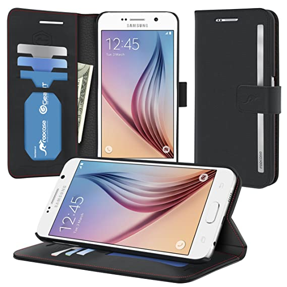 hot sale online fb9b2 4746b S6 Case, Samsung Galaxy S6 Wallet Case, rooCASE Prestige Premium Synthetic  Leather Wallet Case Flip Cover [Stand Feature] with Credit Card ID Holder  ...