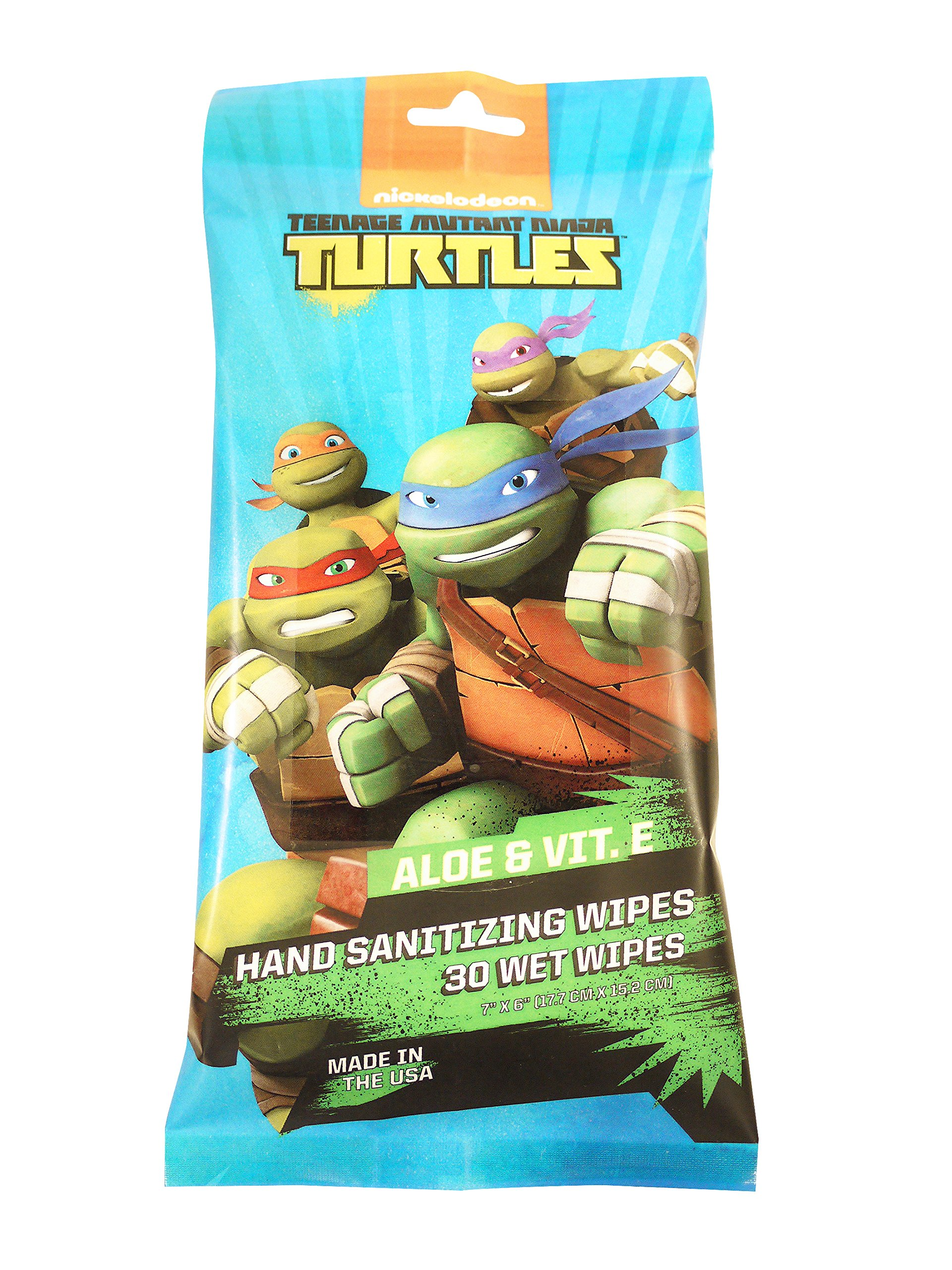 Disposable Hand Sanitizing Travel Wipes: Teenage Mutant Ninja Turtle Fresh Cleansing Sanitizer Wipe for Hands or Face with Aloe - 30 Count, Pack of 6 (total 180 wipes)