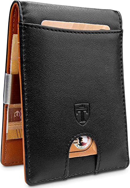 RFID Blocking Mini Vintage Bifold with Box for Men TRAVANDO /® Slim Wallet with Money ClipVienna Faux Leather Credit Card Holder Travel