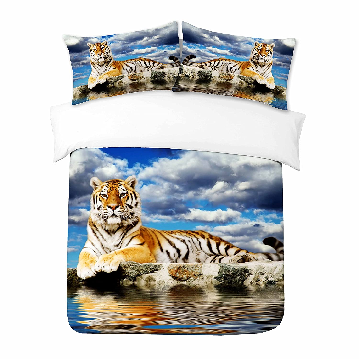 Adam Home 3D Digital Printing Bett Leinen Bettwäsche-Set Bettbezug + 1x Kissenbezug - Beautiful Tiger Sitting On The Side Of The Water (Alle Größen)
