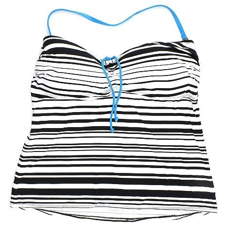 Amazon com: Apt  9 Striped Bandeau Halter Tankini Top for