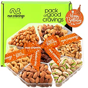 Happy Birthday Nut Gift Basket, (7 Mix Tray) - Valentine Food Arrangement Platter, Care Package Variety, Prime Birthday Assortment, Healthy Kosher Snack Box for Families, Women, Men, Adults