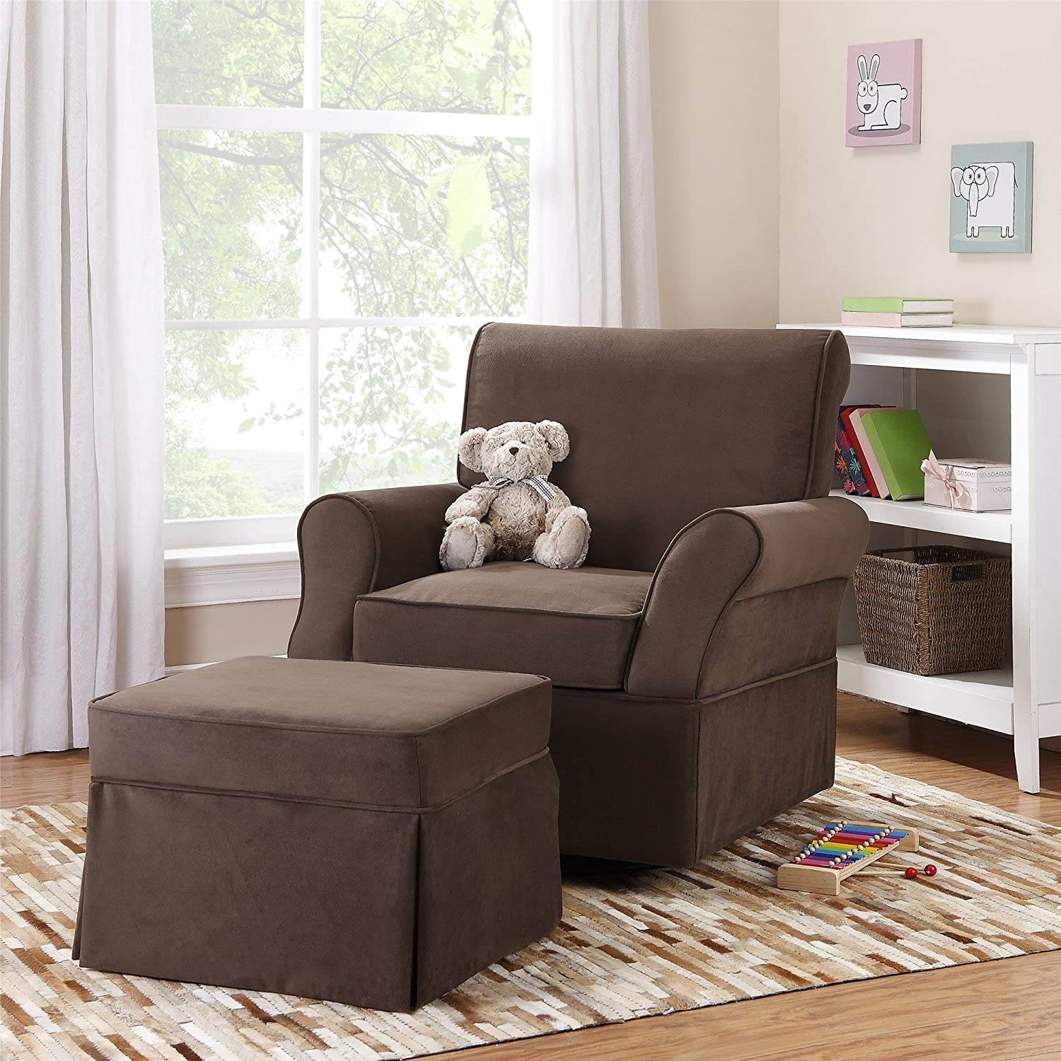 Amazon.com: Baby Relax Kelcie Swivel Glider And Ottoman, Comet Coffee: Baby Part 86