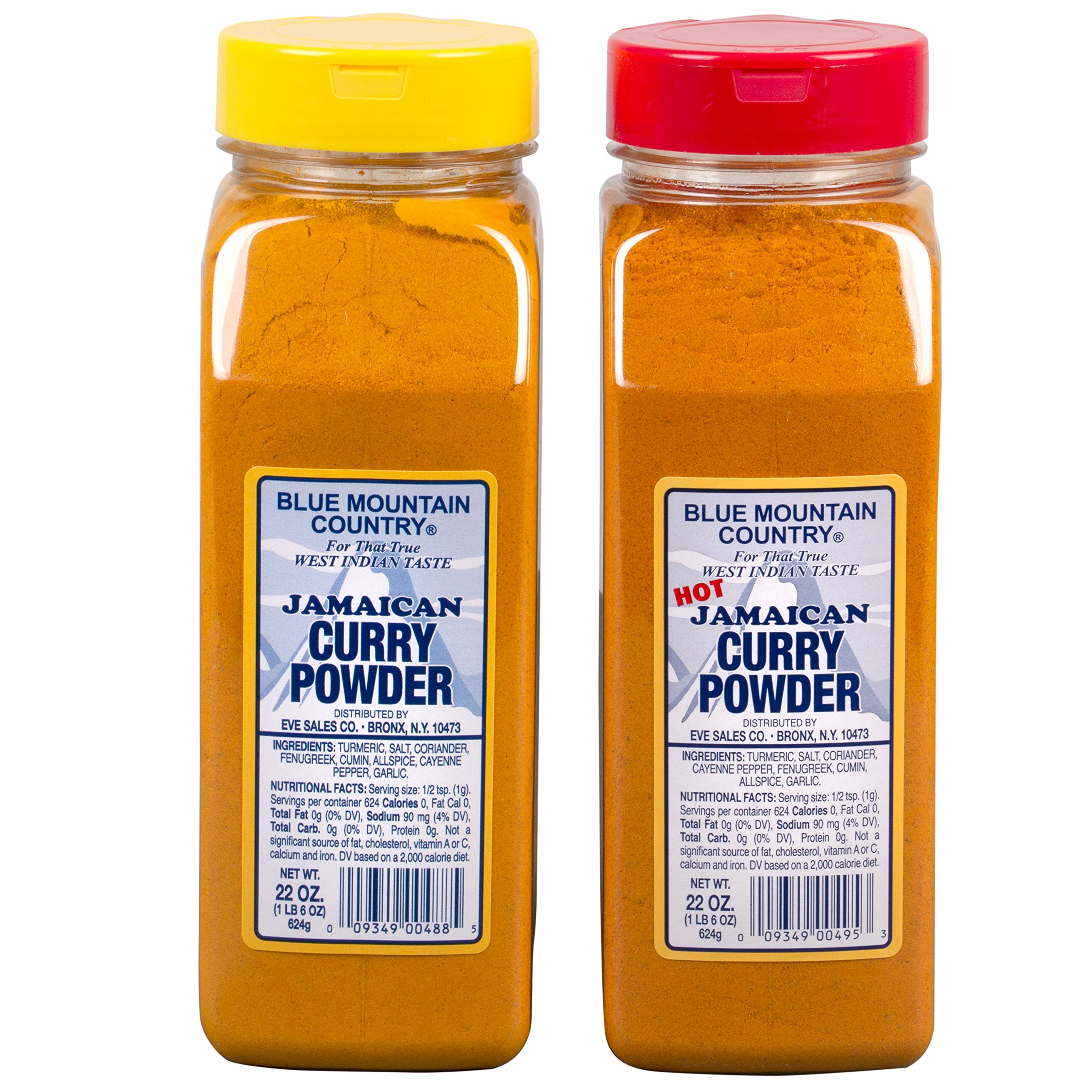 Blue Mountain Country Jamaican Curry and Hot Curry Powder, 22 ounce (Pack of 2)