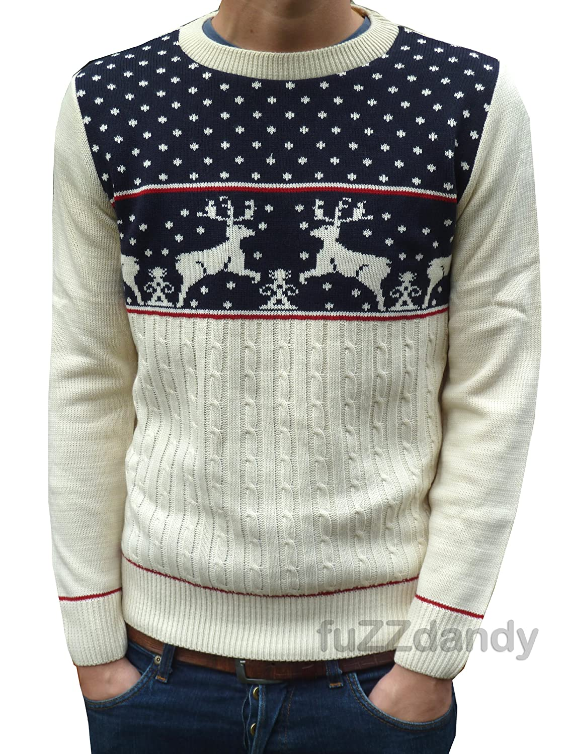 Men's Vintage Style Sweaters – 1920s to 1960s Fuzzdandy - Mens Kitsch Reindeer Christmas Jumper Sweater Navy Xs S M L Xl $42.00 AT vintagedancer.com