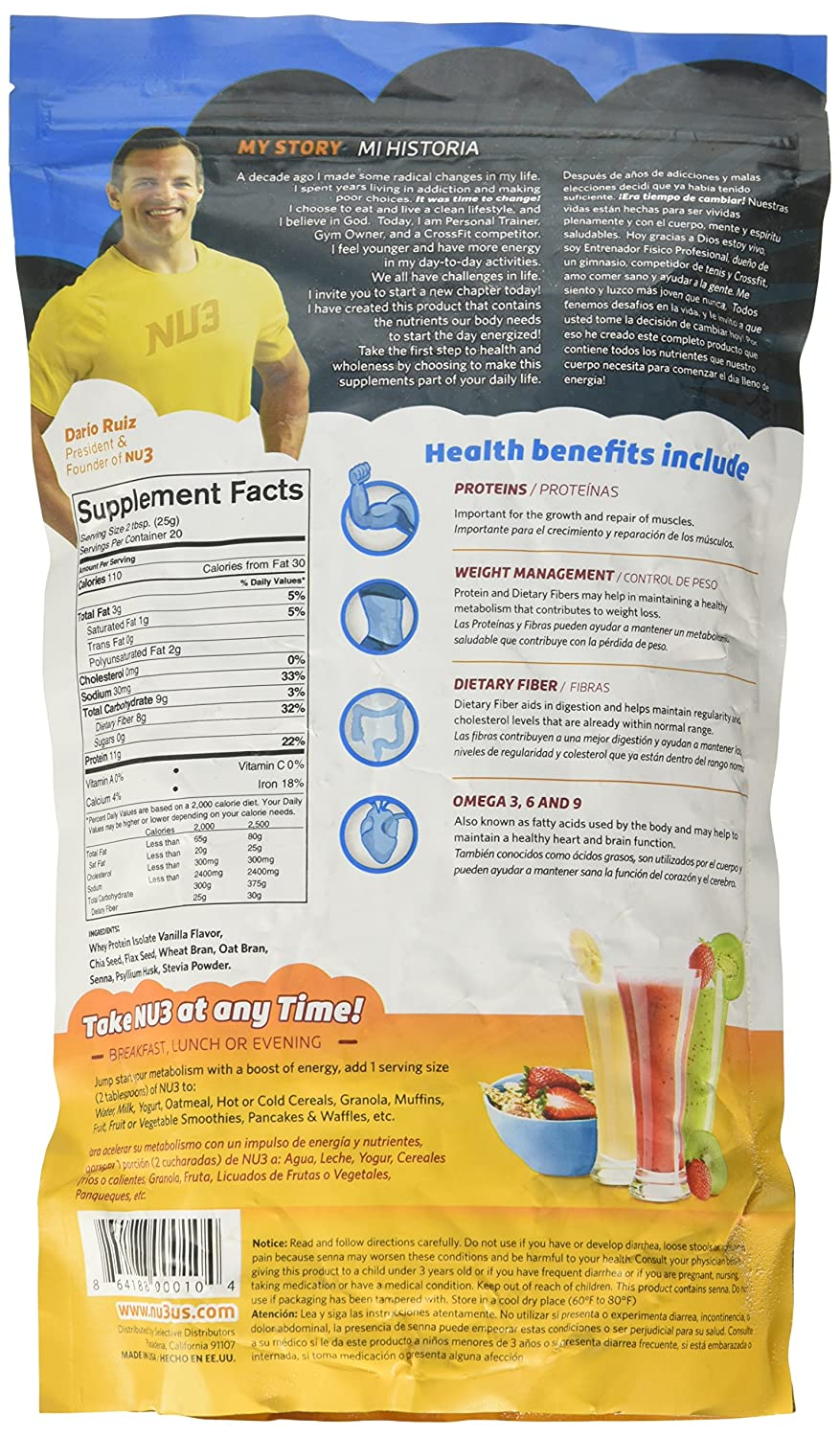 Amazon.com: Nu3 Fiber, Protein and Chia Supplement, Vanilla, 17.60 Ounce: Health & Personal Care
