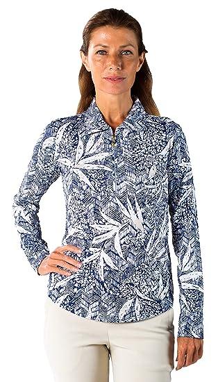 92236389526 SanSoleil Women s SolTek UV 50 Long Sleeve Zip Print Polo - Bali Navy - X-