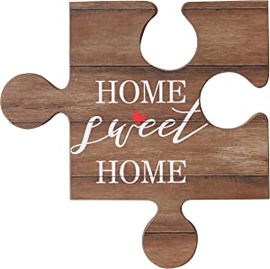 NIKKY HOME Home Sweet Home Decorative Wood Puzzle Piece Wall Signs Plaque with Quotes
