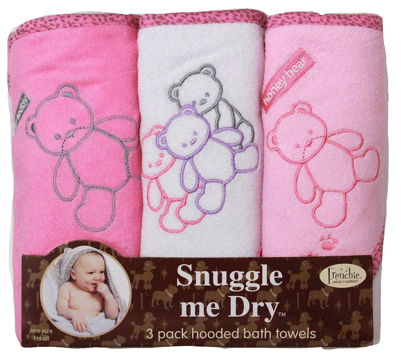 Teddy Bear Hooded Bath Towel Set, 3 Pack, Girl, 76 x 71 cm, Frenchie Mini Couture