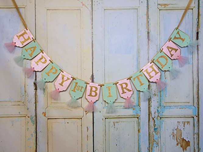 Mint Pink And Gold Happy 1st Birthday Banner Girls First Party Decoration
