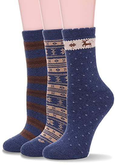 eda2eac4b4f76 EBMORE Womens Thick Cotton Socks Soft Warm Crew Winter Cold Weather Socks 3  Pack