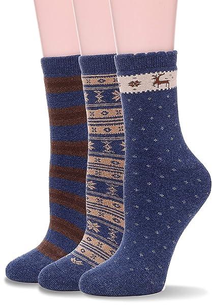 e1cf6d0eb38c EBMORE Womens Thick Cotton Socks Soft Warm Crew Winter Cold Weather Socks 3  Pack (Snowflake