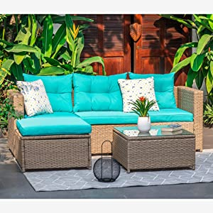 M&W 5 Piece Patio Furniture Set, Wicker Outdoor Sectional Sofa with Coffee Table Set, Rattan Couch for Garden, Deck, Porch, Balcony, Lawn, Poolside (Throw Pillow NOT Included)