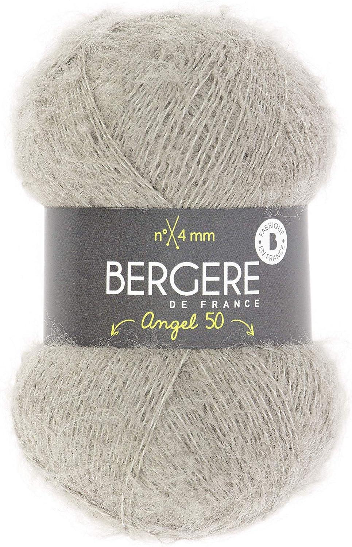 fil /à tricoter 44/% de polyamide BERG/ÈRE DE FRANCE 4 mm 32/% dacrylique et 24/% de Mohair Fil l/éger et f/éminin ANGEL 50 LICHEN pelote de laine