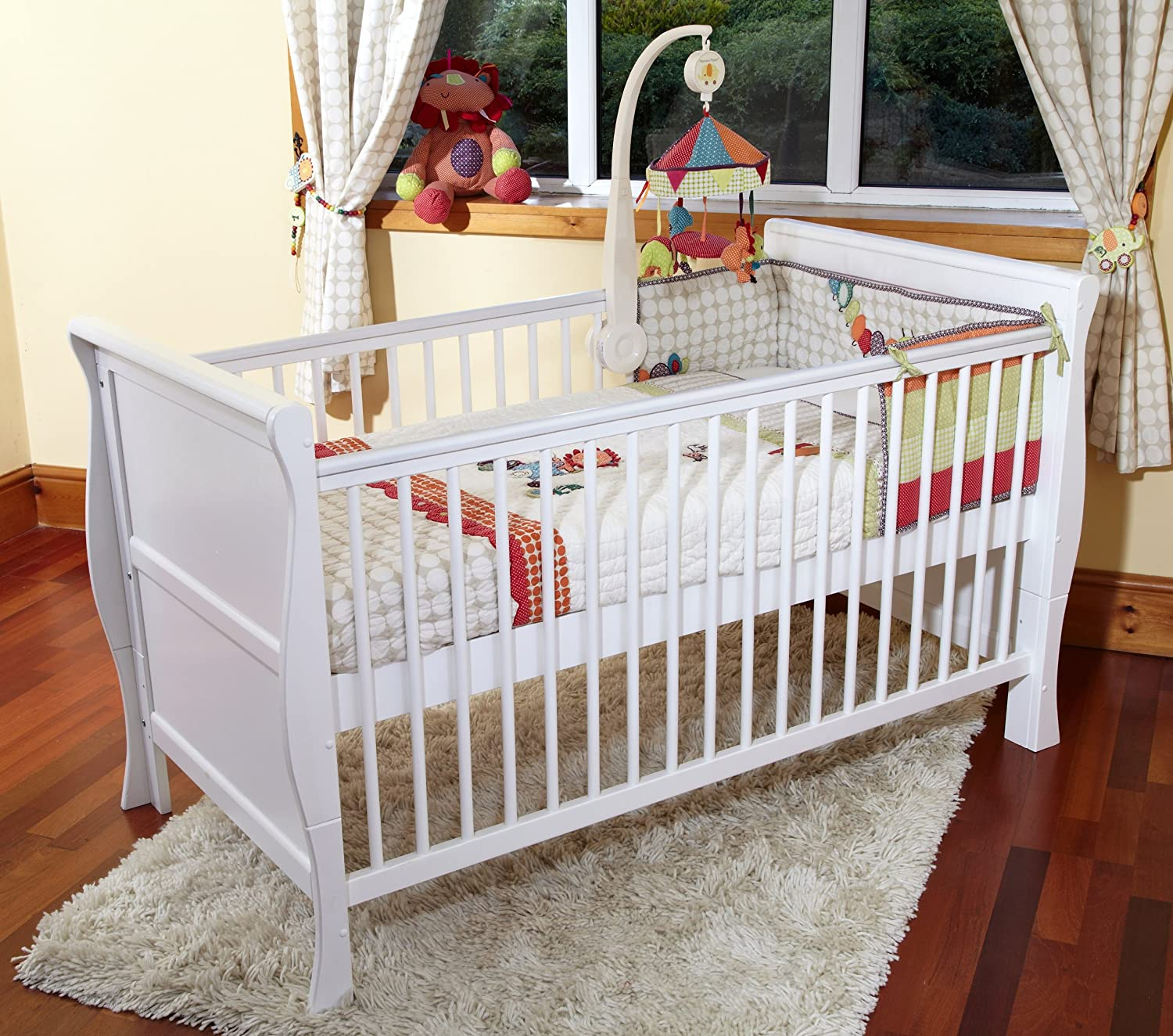 POPPY'S PLAYGROUND SCARLETT WHITE COT BED & COTBED FOAM SAFETY MATTRESS Poppy' s Playground
