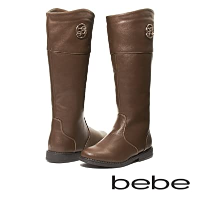 8f2b0434affe bebe Girls Riding Boots with Medallion Size 4 Brown Gold Casual Dress Shoes