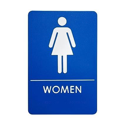 amazon com womens restroom sign ada compliant bathroom door sign