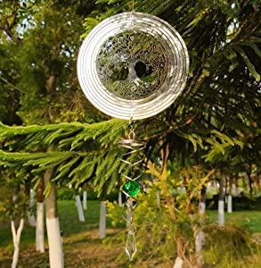 VERLIAN Hanging Wind Spinner with Sun Catcher Tail 3D Outdoor Bird Metal Wind Spinner Yard Garden Decor Outside Stainless Steel Spinner Gift Indoor Decoration Crafts Ornaments (Tree of Life)