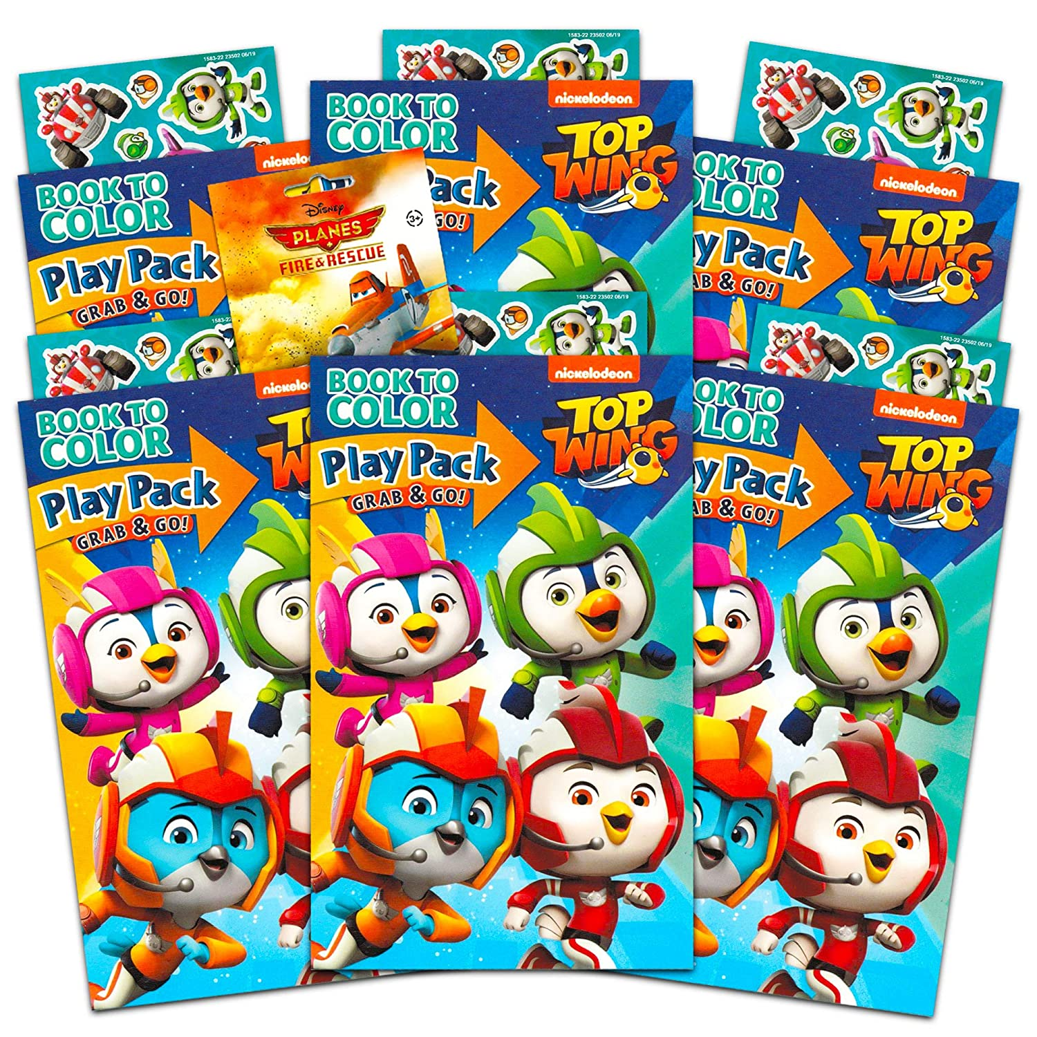 Crayons with Bonus Stickers Nickelodeon Top Wing Party Favors Pack ~ Bundle of 6 Top Wing Play Packs Filled with Stickers Top Wing Party Supplies Coloring Books