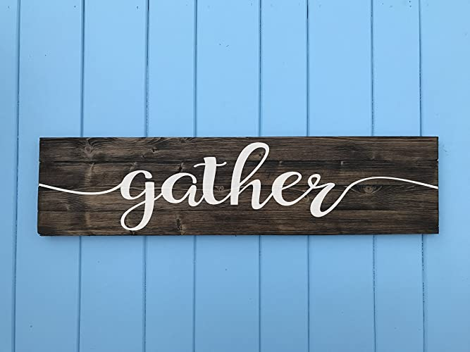 gather sign gather wood sign gather sign for kitchen stained with white lettering