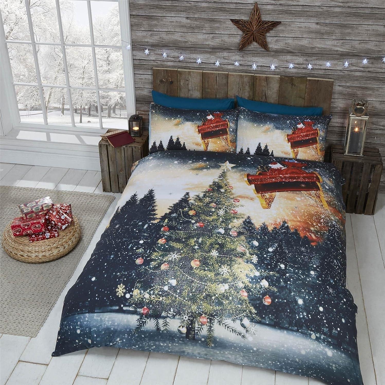 Sapin de Noël Boules Volant Père Noël Neige Nuit Vert Bleu Housse Couette Simple