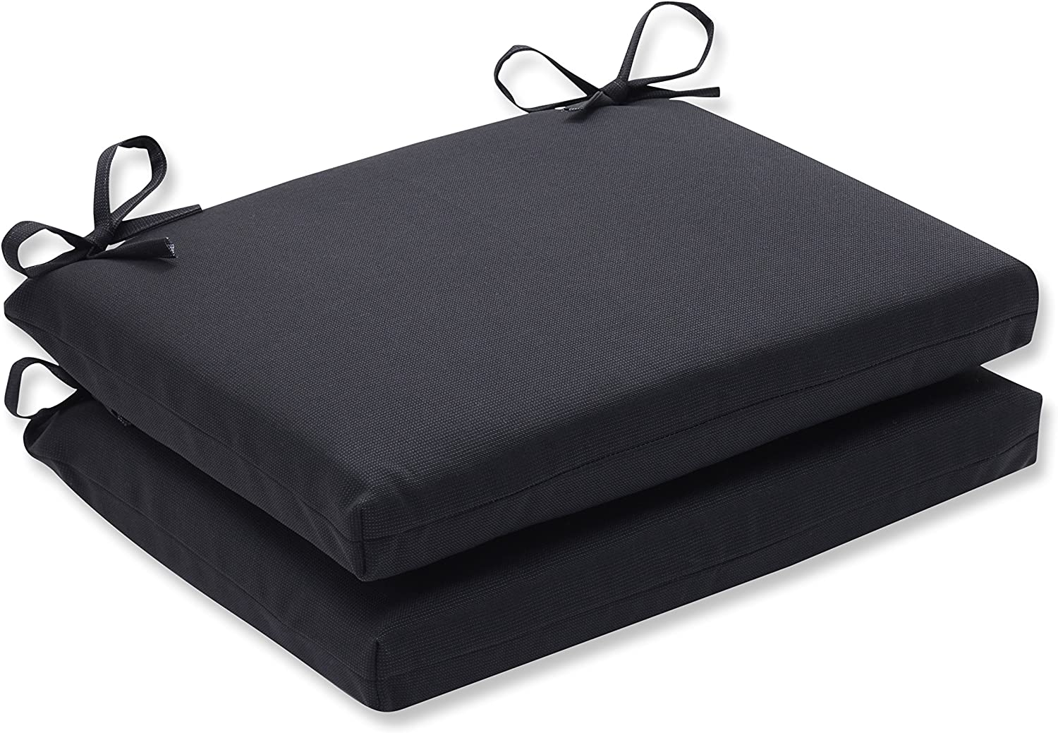 Pillow Perfect Indoor Outdoor Fresco Squared Seat Cushion, Set of 2, 18.5 in. L X 16 in. W X 3 in. D, Black