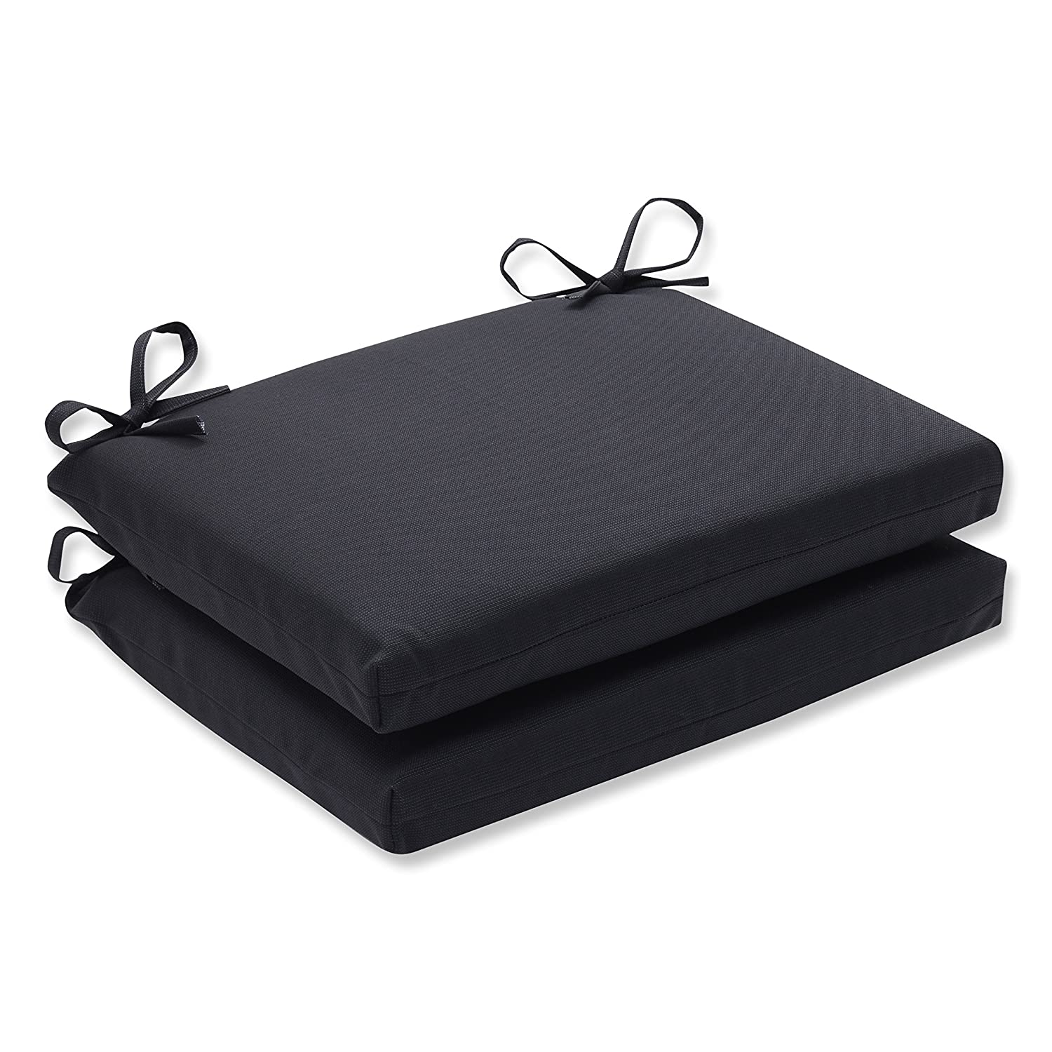 Pillow Perfect Indoor/Outdoor Fresco Squared Seat Cushion, Set of 2, 18.5 in. L X 16 in. W X 3 in. D, Black