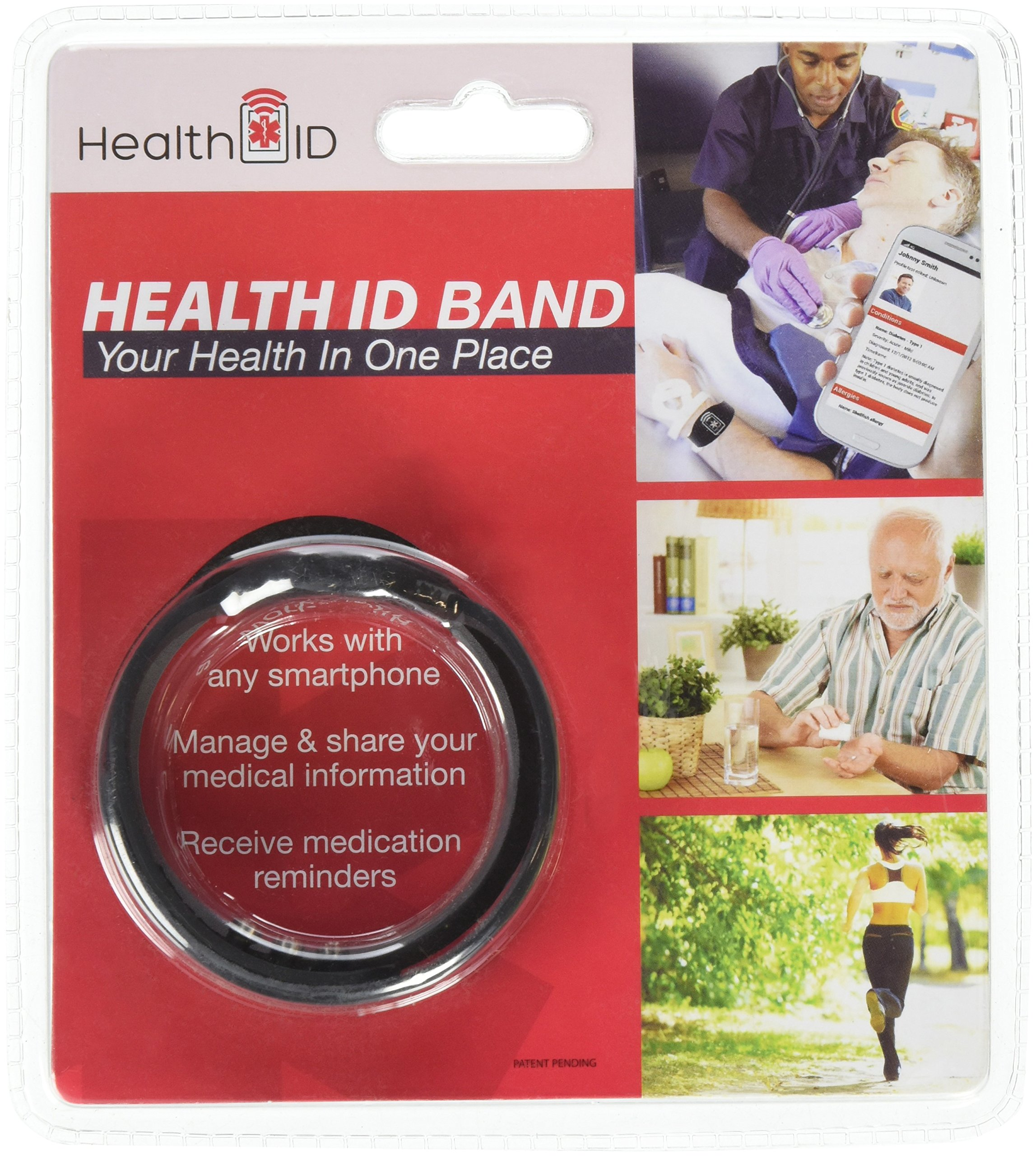 Health ID Emergency Medical ID Bracelet with Smartphone Access - Black