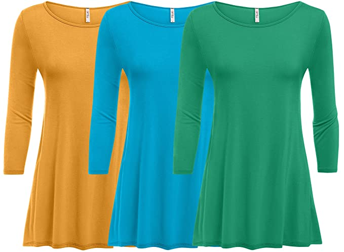 1e5aadfd11b Image Unavailable. Image not available for. Colour  3 Pack  Womens Plus  Size Tunic Tops for Leggings