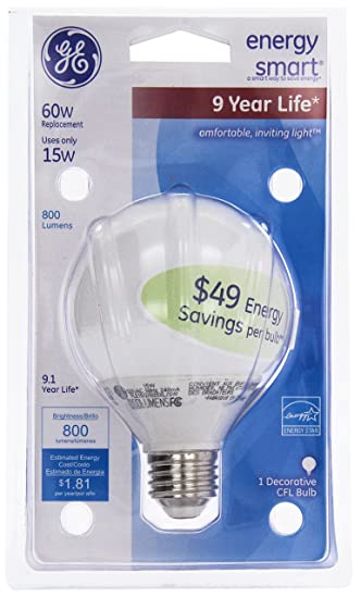 GE 15-Watt, Energy Smart Compact Fluorescent Globe Bulb, Soft White, Equivalent