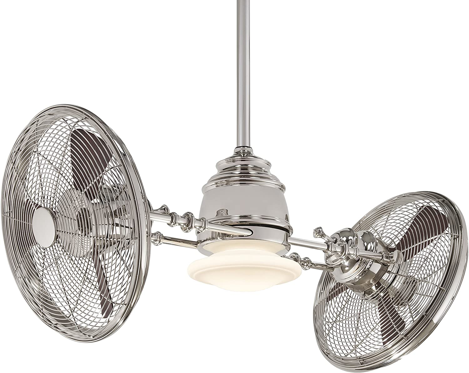 "Minka-Aire F802-PN VINTAGE GYRO 42"" Ceiling Fan in Polished Nickel Finish with Rosewood Blades"