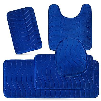 5 Piece Bathroom Rug Sets.Elvoki 5 Piece Bathroom Rugs Set Soft Non Slip Memory Foam Large Bathroom Rug Mats Perfect Combination Of Luxury And Comfort Royal Blue Sea