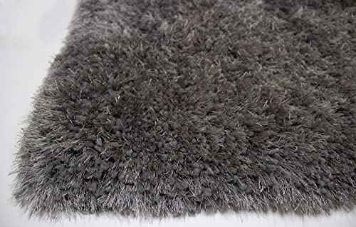 LA Indoor Rectangle Plush Soft Furry Super Shag Shaggy Plain Shiny Fluffy Plush Soft Accent 8-Feet-by-10-Feet Polyester Made Area Rug Carpet Rug Gray Grey Color