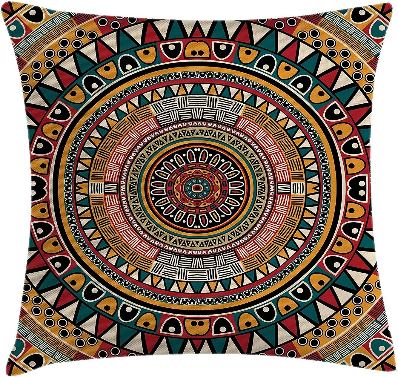 Amazon Com Ashasds Tribal African Folkloric Tribe Round Pattern With Ethnic Colors Aztec Art Throw Pillow Covers For Home Indoor Friendly Comfortable Cushion Standard Size 24x24 In Home Kitchen