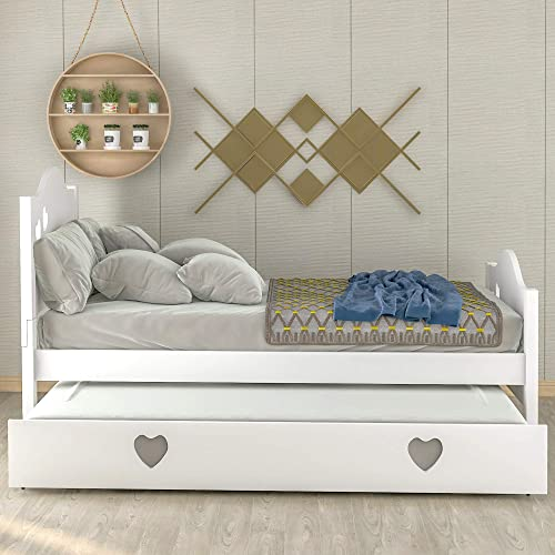 Merax Solid Wood Platform Bed with Twin Size Trundle for Kids,Teens, Loving Shape, Twin, White